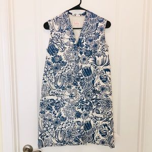 Vintage The Lilly Blue White Floral Print Dress